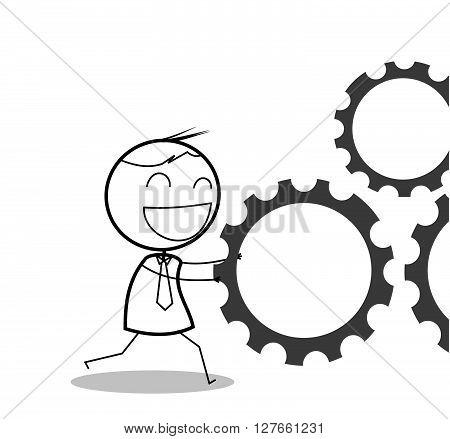 Businessman pushing cogwheel .eps10 editable vector illustration design