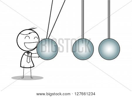 Businessman with newton cradle .eps10 editable vector illustration design