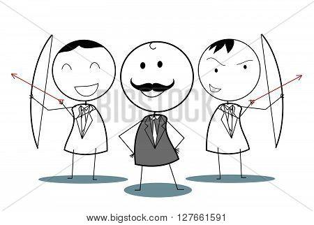 Businessman archery team .eps10 editable vector illustration design