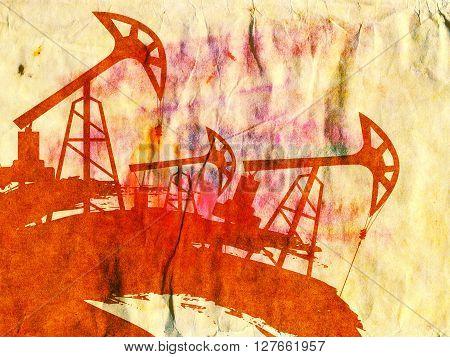 Grunge Oil Pump On Paper