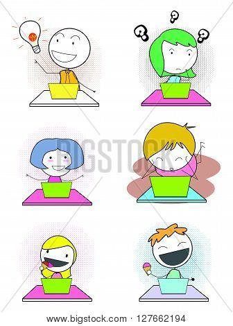 Kids notebook expresion .eps10 editable vector illustration design