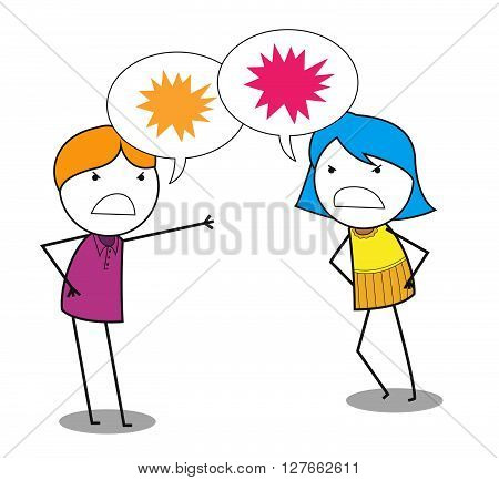 Man woman conflict .eps10 editable vector illustration design