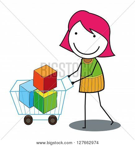 Woman shoping troley .eps10 editable vector illustration design