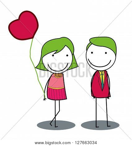 Dating couple .eps10 editable vector illustration design