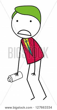 Thristy businessman .eps10 editable vector illustration design
