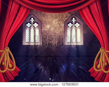 Room With Curtains And Old Window