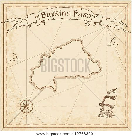 Burkina Faso Old Treasure Map. Sepia Engraved Template Of Pirate Map. Stylized Pirate Map On Vintage