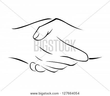 Hand Shake Simple Symbol .eps10 editable vector illustration design