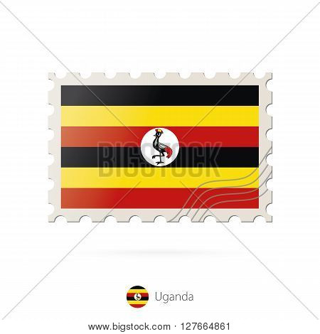 Postage Stamp With The Image Of Uganda Flag.