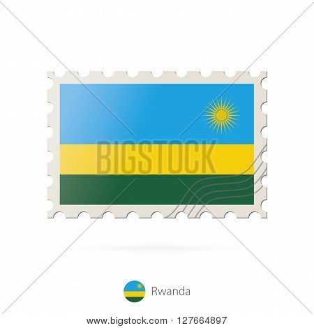 Postage Stamp With The Image Of Rwanda Flag.