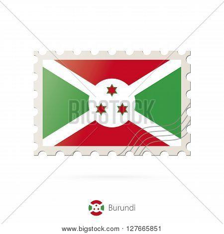 Postage Stamp With The Image Of Burundi Flag.