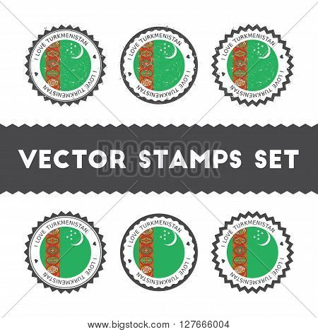 I Love Turkmenistan Vector Stamps Set. Retro Patriotic Country Flag Badges. National Flags Vintage R
