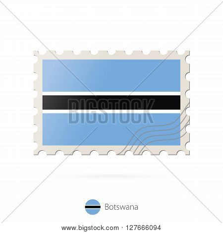 Postage Stamp With The Image Of Botswana Flag.