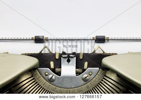 Close-up of word Power  on typewriter sheet