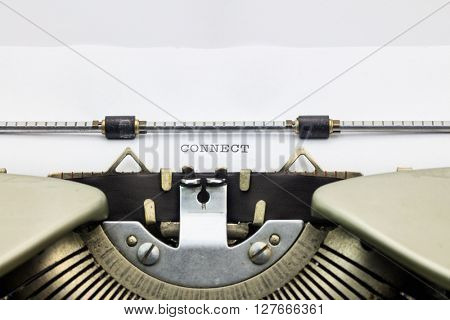 Close-up of of word Connect on typewriter sheet