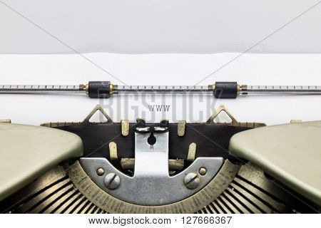 Close-up of WWW letters on typewriter sheet