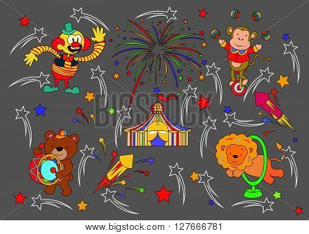 Funny and Cute Circus Parade set.eps10 editable vector illustration design