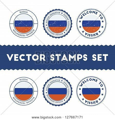 Russian Flag Rubber Stamps Set. National Flags Grunge Stamps. Country Round Badges Collection.