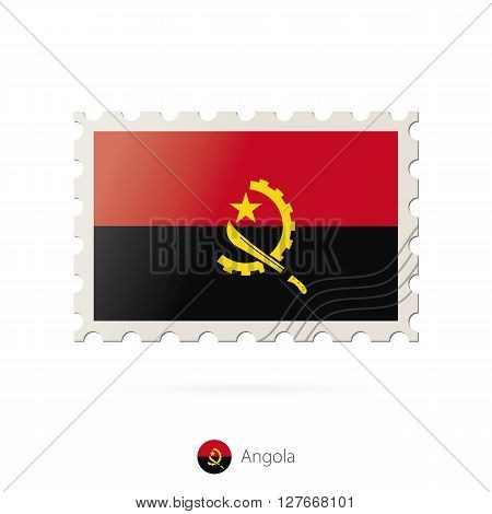Postage Stamp With The Image Of Angola Flag.