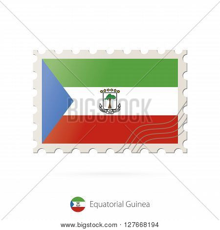 Postage Stamp With The Image Of Equatorial Guinea Flag.