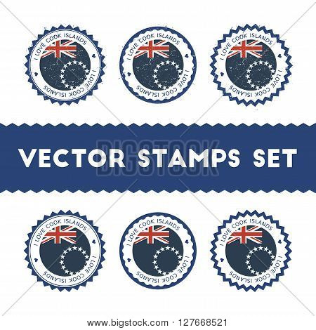 I Love Cook Islands Vector Stamps Set. Retro Patriotic Country Flag Badges. National Flags Vintage R