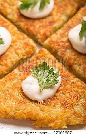 Traditional Irish potato pancakes Boxty with sour cream