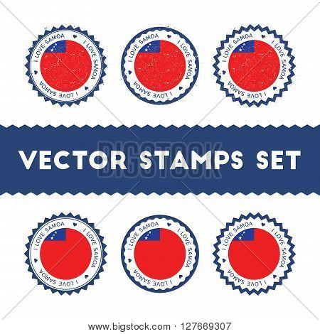 I Love Samoa Vector Stamps Set. Retro Patriotic Country Flag Badges. National Flags Vintage Round Si