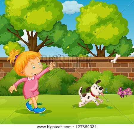Girl playing with pet dog in the yard illustration