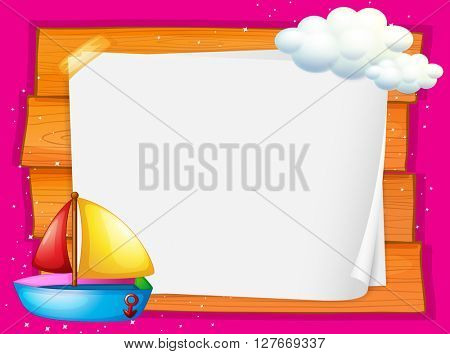 Border design with boat and clouds illustration