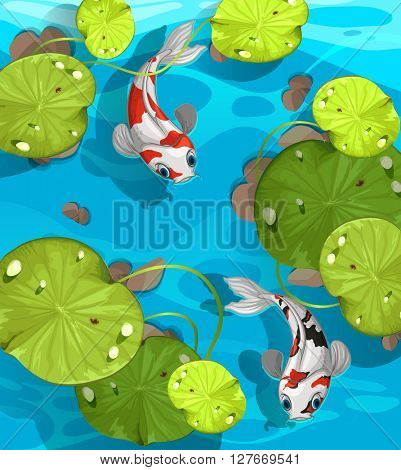 Two fish swimming in the pond illustration