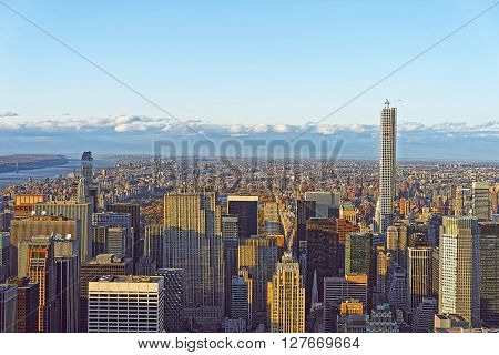 Aerial View Of Skyscrapers In Midtown Manhattan And Central Park