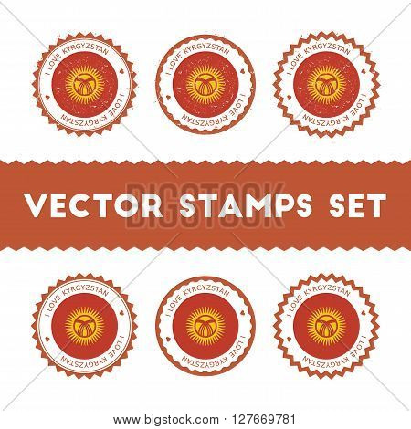 I Love Kyrgyzstan Vector Stamps Set. Retro Patriotic Country Flag Badges. National Flags Vintage Rou