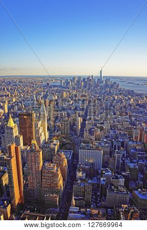 Aerial View On Skyline In Downtown Manhattan And Lower Manhattan