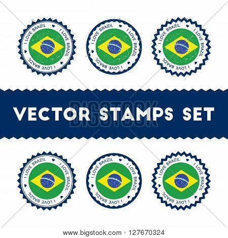 I Love Brazil Vector Stamps Set. Retro Patriotic Country Flag Badges. National Flags Vintage Round S