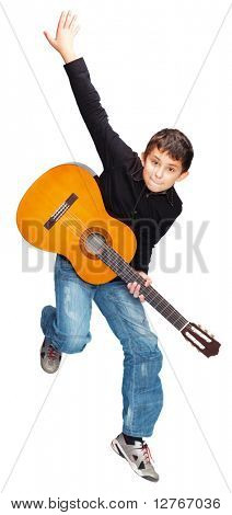 Boy with guitar jumping isolated on white background
