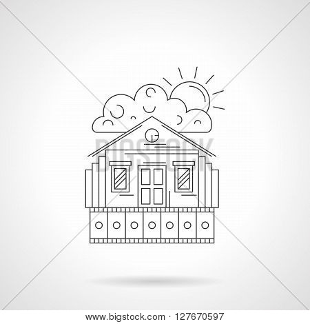 A house facade with film strip, cloud and sun. Idea for home movie symbol. Family leisure. Detailed flat line vector icon. Web design elements for business, site, mobile app.