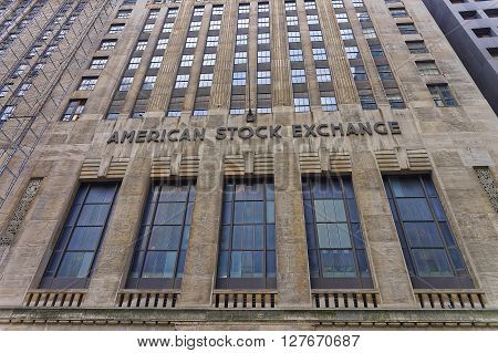 New York USA - May 5 2015: Fragment of American Stock Exchange Building in Lower Manhattan New York City USA. It is the headquarter of Stock Exchange of America
