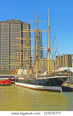 Ship In Harbor Of South Street Seaport Of Lower Manhattan