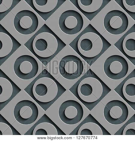 Seamless Square and Circle Pattern. Vector Regular Texture