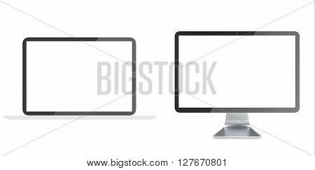 Notebook, Lcd monitor, personal devices with empty LCD screens isolated on white background. 3D illustration