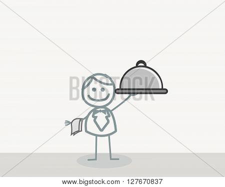 Man Waiter .eps10 editable vector illustration design