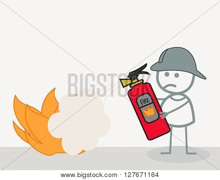 Fire Fighter  Illustration.eps10 editable vector illustration design