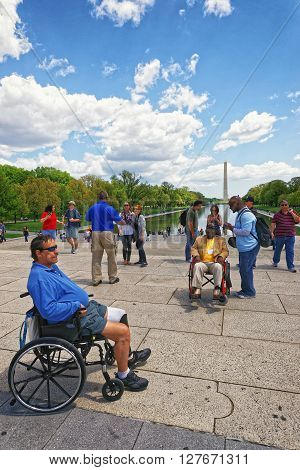War Veteran At Lincoln Memorial Reflecting Pool In Washington