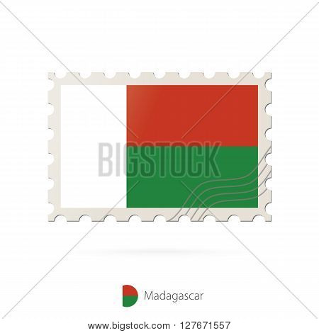 Postage Stamp With The Image Of Madagascar Flag.