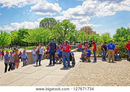 War Veterans Near Lincoln Memorial Staircase In Washington Dc