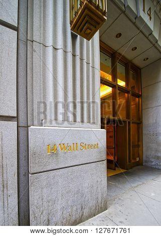 Street Name In Wall Street In Lower Manhattan