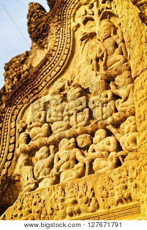 Detail Of Decoration In Angkor Wat Temple Complex