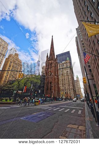 Trinity Church In Manhattan And Street View