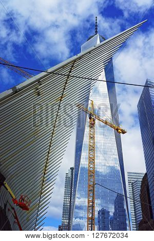 Detail Of Wing Of Wtc Transportation Hub And Freedom Tower