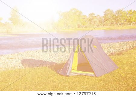 Camping by The Beautiful River Asian Concept